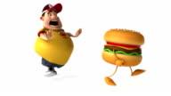 Fat kid after a hamburger video
