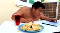 Fat man eating video