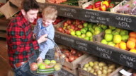 Father and child  in organic shop video