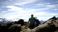 Father and daughter bonding in the mountains video