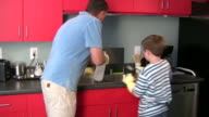 (HD1080i) Father and Son Cleaning Together video