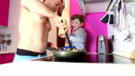 Father and Son cooking video