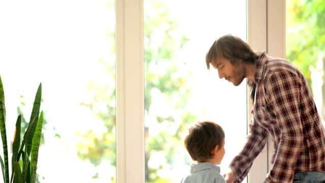 DOLLY: Father and son embracing in front of window video