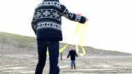 MS Father and son playing with kite on beach video