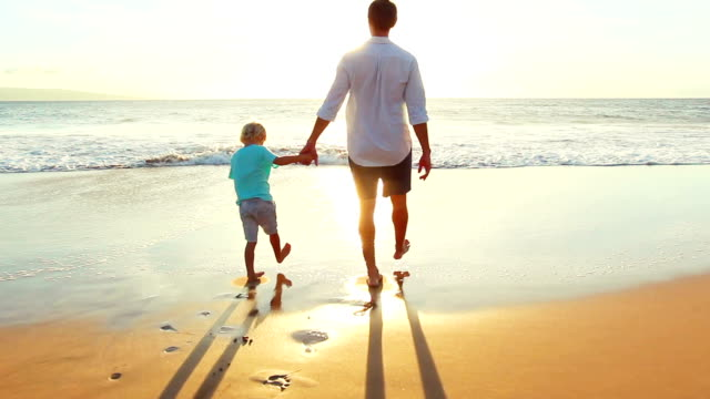 Father and Son Walking Holding Hands  Playing Together at the Beach at Sunset. video