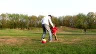 father child soccer video
