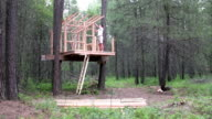 Father Framing a Tree House video