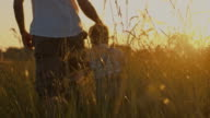 SLO MO Father holding son's hand in a meadow video