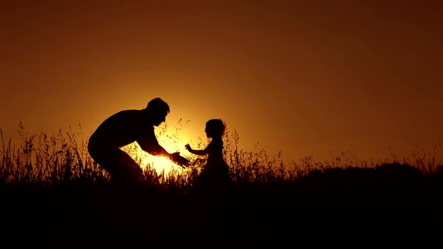 Father playing with little daughter at sunset. video