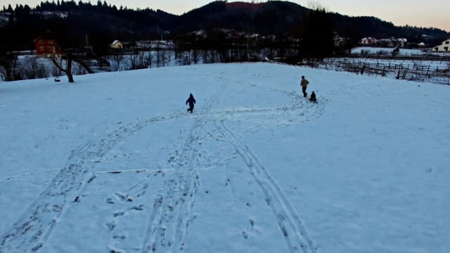 Father pulling sledge , kids having fun in winter, aerial view video