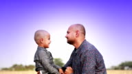 Father & son loving portrait video