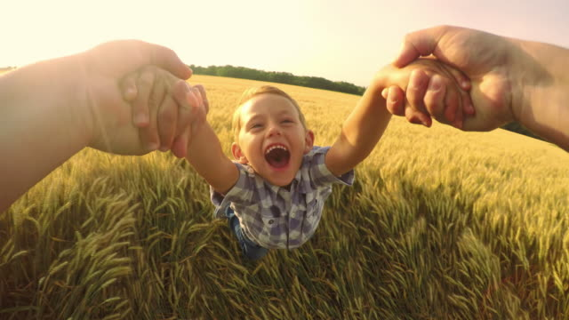 POV Father spinning his cute son in wheat field video