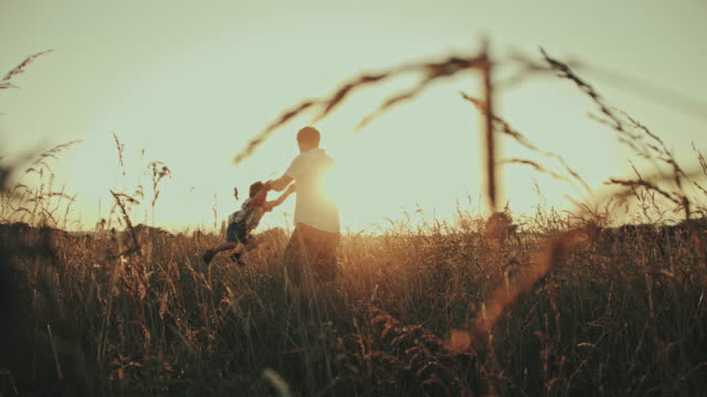 SLO MO Father spinning his son in a meadow video