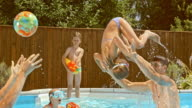 SLO MO Father throwing his daughter into the water in the pool video