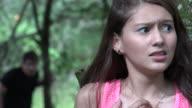Fearful Teen Girl Hiding From Stalker video