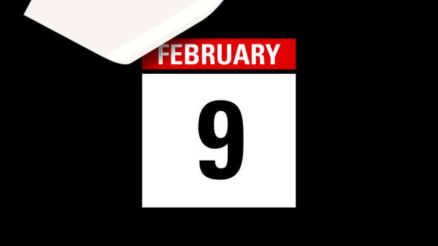 February Leap Year month calendar HD video