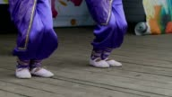 feet children trousers and ballet flats slow motion video video