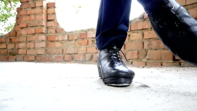 Feet In Irish Dancing Step Shoes Slow Motion video