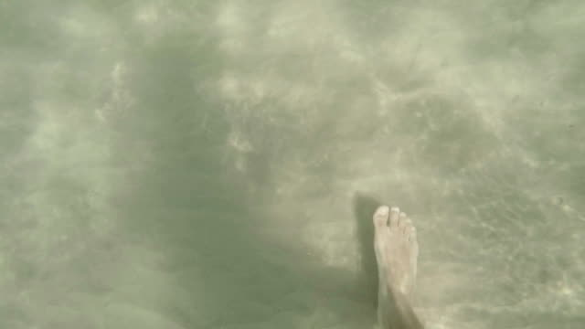 Feet in the water. Slow motion video