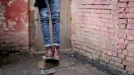 Feet of depressed person committing suicide by hanging, psychological crisis video