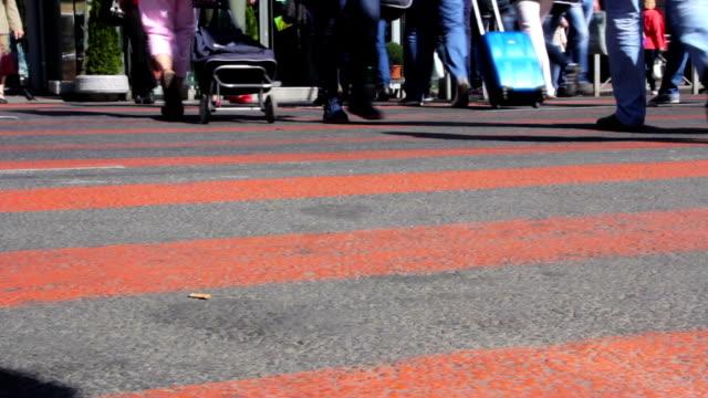 Feet of people walking. City rush video