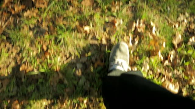 Feet walking in grass in the park video