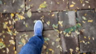Feet, wearing blue shoes, walking on a park road, covered with fall leaves. video