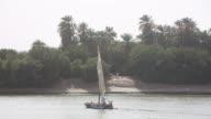 Felukka boat sailing on Nile towards riverbank video