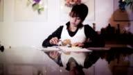 Female accountant working late video