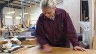 Female apprentice in carpentry workshop polishing piece of wood video