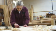 Female Apprentice Sanding Wood In Carpentry Workshop video