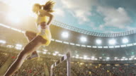 Female athlete hurdle on sports race video
