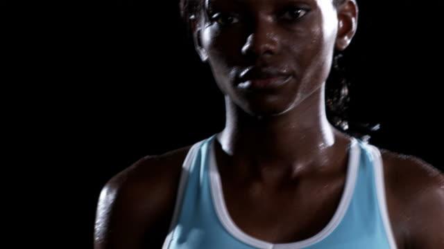 Female athlete waiting. video