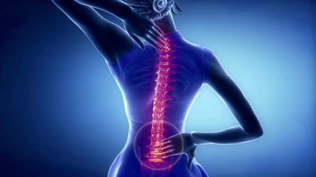 Female backbone pain - spine injury concept in blue video