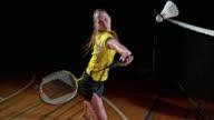 SLO MO Female badminton player hitting a shuttlecock video