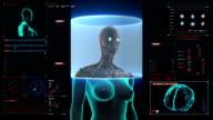 Female body scanning Human eyes system in digital display dashboard. video