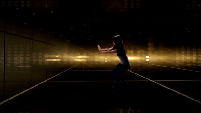 Female Breakdancer on Digital Background video