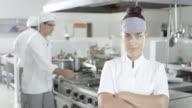 Female Chef In Kitchen video