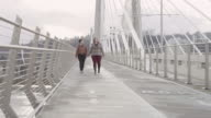 Female couple walking across a pedestrian bridge holding hands and smiling video