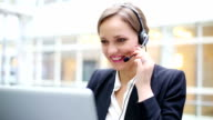 Female customer support operator with headset video