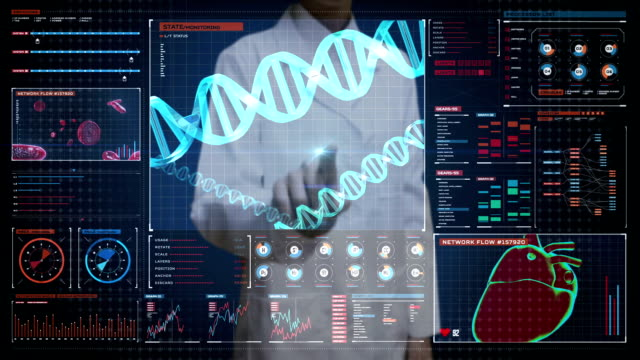 Female doctor touching digital screen, heredity.Human DNA, Futuristic medical application. Digital user interface. video