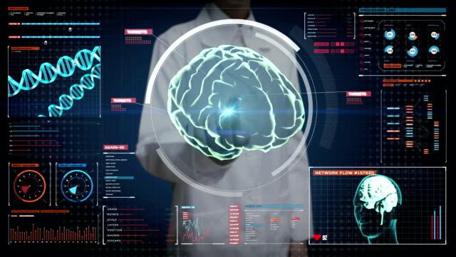 Female doctor touching digital screen, Scanning Brain in digital display dashboard. X-ray view video