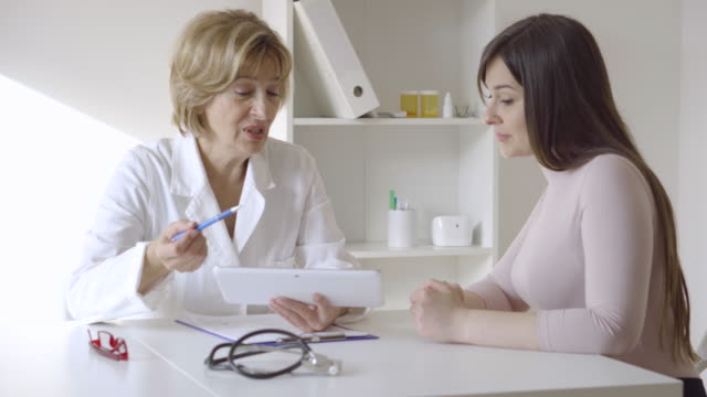 Female doctor with patient video