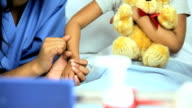 Female Ethnic Children's Nurse Young Girl Hospital  Bed video