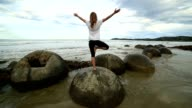Female exercises yoga on a boulder by the sea video