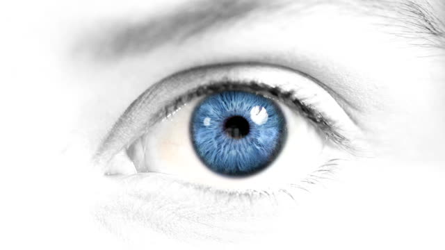Female Eye.  Blue and green. white/blue skin. video