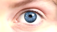 Female Eye. Blue and multicolored. Regular/white. 2 in 1. Loopable. video
