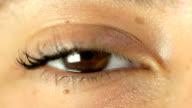 female eye close up video