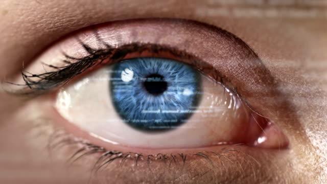 Female eye with program code. Futuristic. Technology. Blue. video