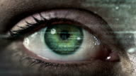 Female eye with program code. Futuristic. Technology. Dark. Green-Blue. video